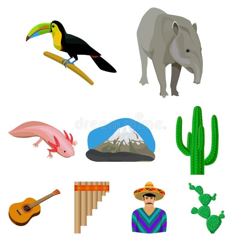 Meksyk kraju ustalone ikony w kreskówka stylu Duża kolekcja Meksyk kraju symbolu zapasu wektorowa ilustracja royalty ilustracja