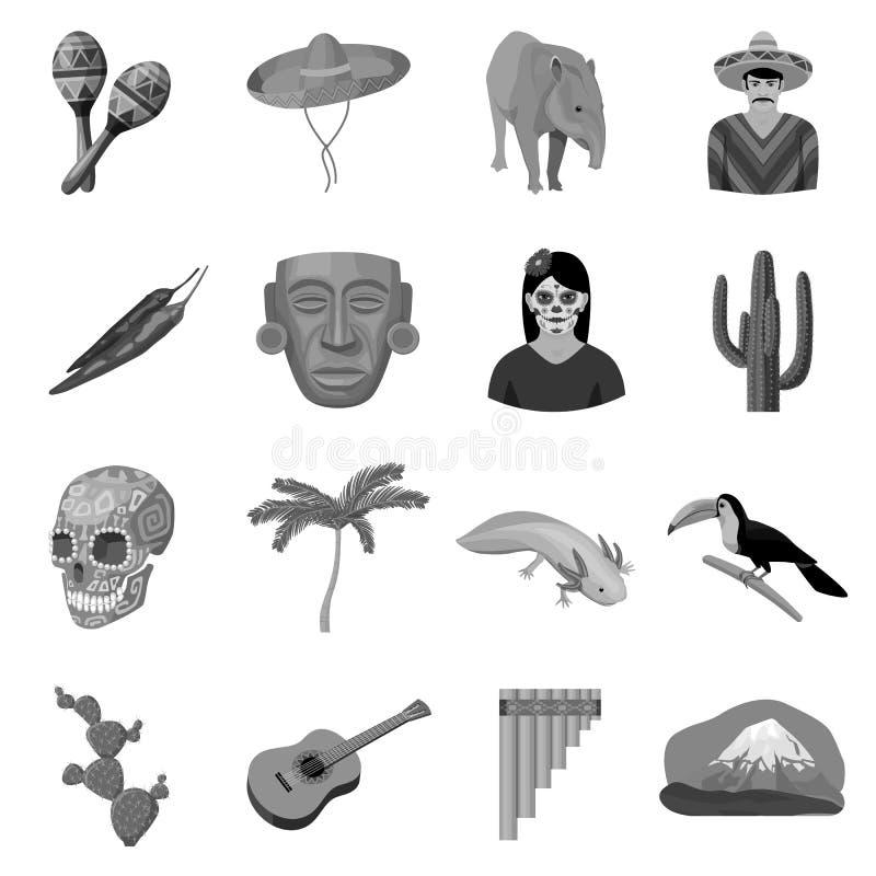 Meksyk kraju ustalone ikony w monochromu stylu Duża kolekcja Meksyk kraju symbolu zapasu wektorowa ilustracja ilustracji