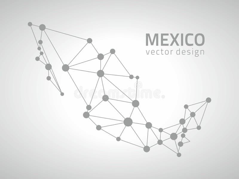 Meksyk kropki konturu trójboka popielata wektorowa mapa ilustracji