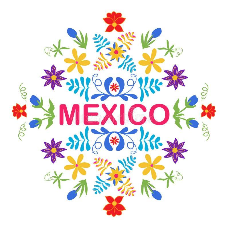 Meksyk kwiaty, wzór i elementy, Tradycyjny Meksykański orname ilustracja wektor