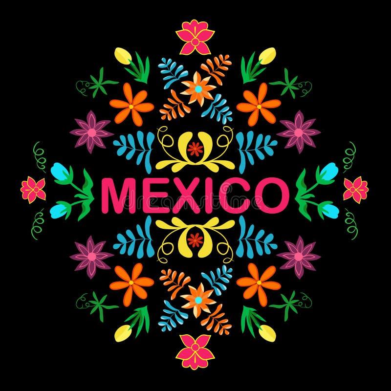 Meksyk kwiaty, wzór i elementy, wektor royalty ilustracja