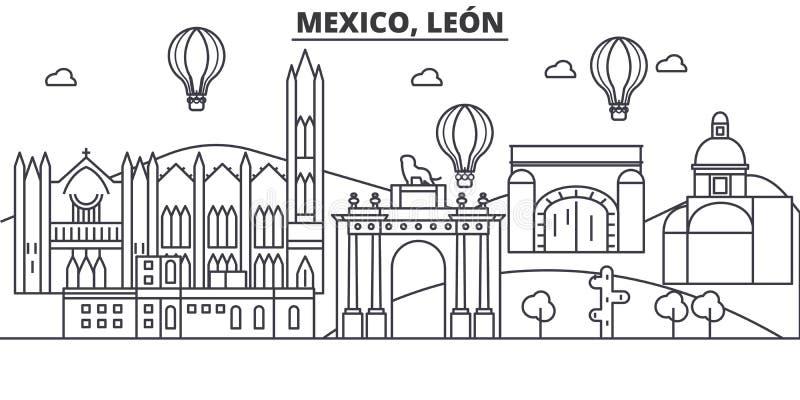 Meksyk, Leon architektury linii linii horyzontu ilustracja Liniowy wektorowy pejzaż miejski z sławnymi punktami zwrotnymi, miasto ilustracja wektor