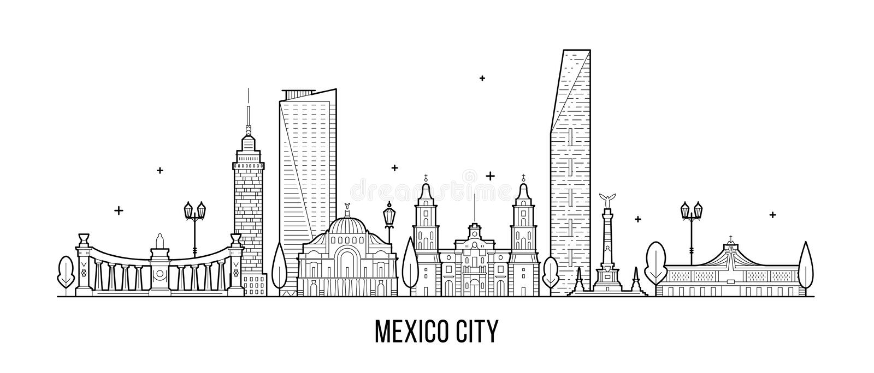 Meksyk linia horyzontu Meksyk wektorowa liniowa sztuka royalty ilustracja