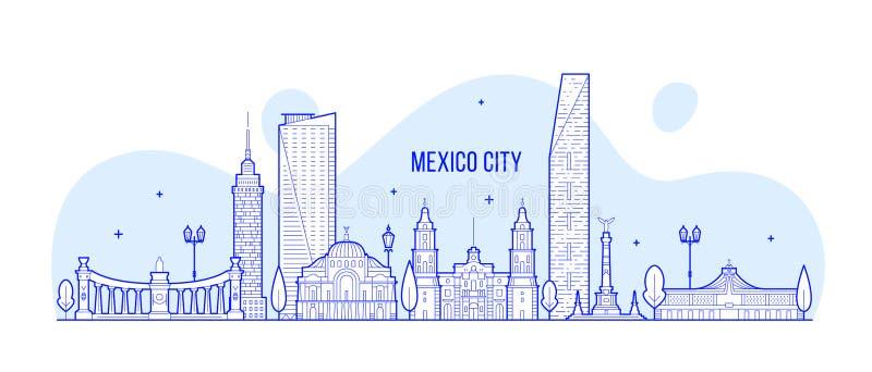 Meksyk linia horyzontu Meksyk wektorowa liniowa sztuka ilustracji