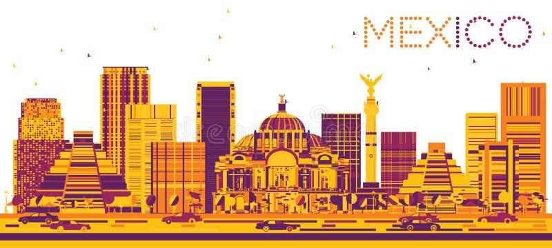 Meksyk linia horyzontu z kolorów budynkami royalty ilustracja
