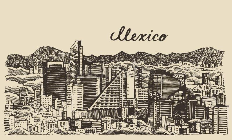 Meksyk linii horyzontu rocznik grawerujący wektorowy nakreślenie ilustracji