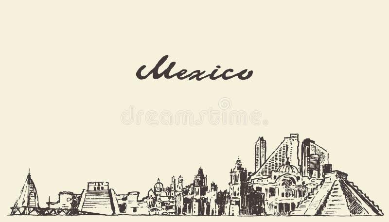 Meksyk linii horyzontu wektorowa ilustracja rysujący nakreślenie ilustracja wektor