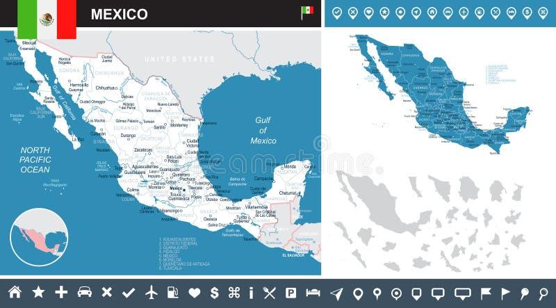 Meksyk - mapa i flaga - infographic ilustracja ilustracja wektor
