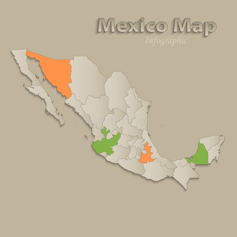 Meksyk mapa z indywidualnymi stanami oddzielał, infographics z ikonami ilustracja wektor
