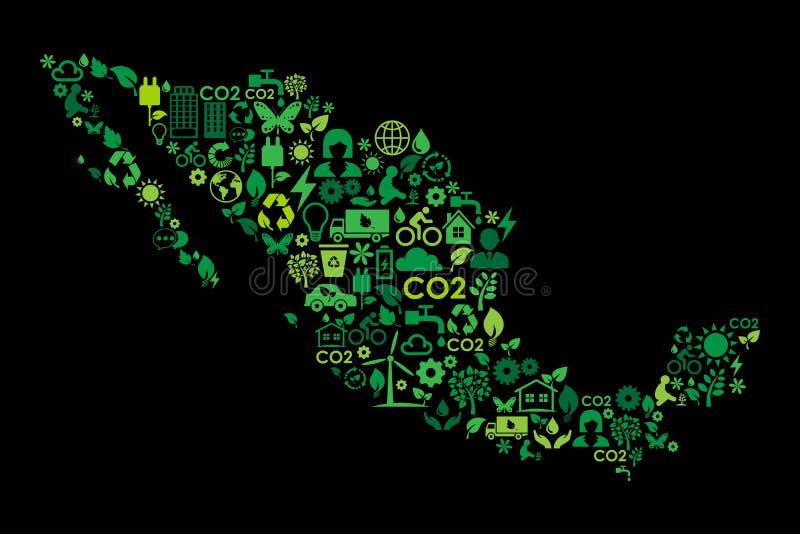 Meksyk mapy ochrony środowiska zieleni pojęcia ikony royalty ilustracja