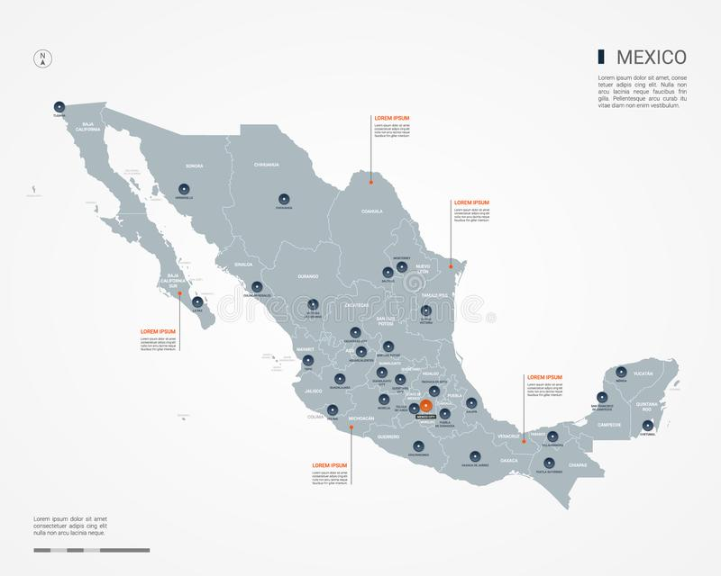 Meksyk mapy wektoru infographic ilustracja ilustracja wektor