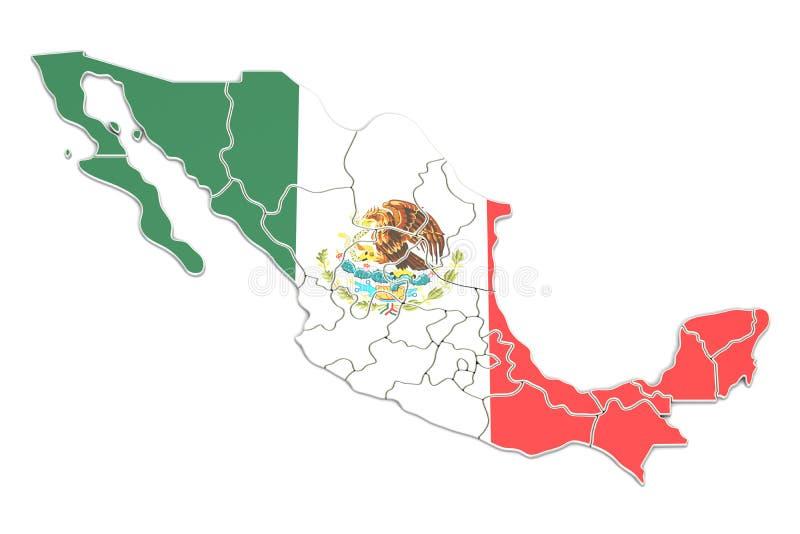 Meksyk mapy zbliżenie, 3D rendering royalty ilustracja