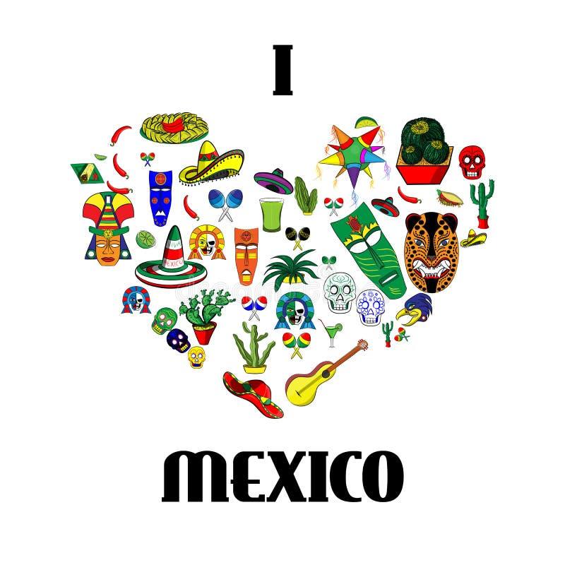 Meksyk miłość - serce z setem ilustracje royalty ilustracja