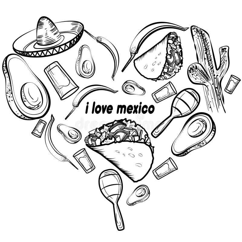 Meksyk miłości set ilustracja wektor