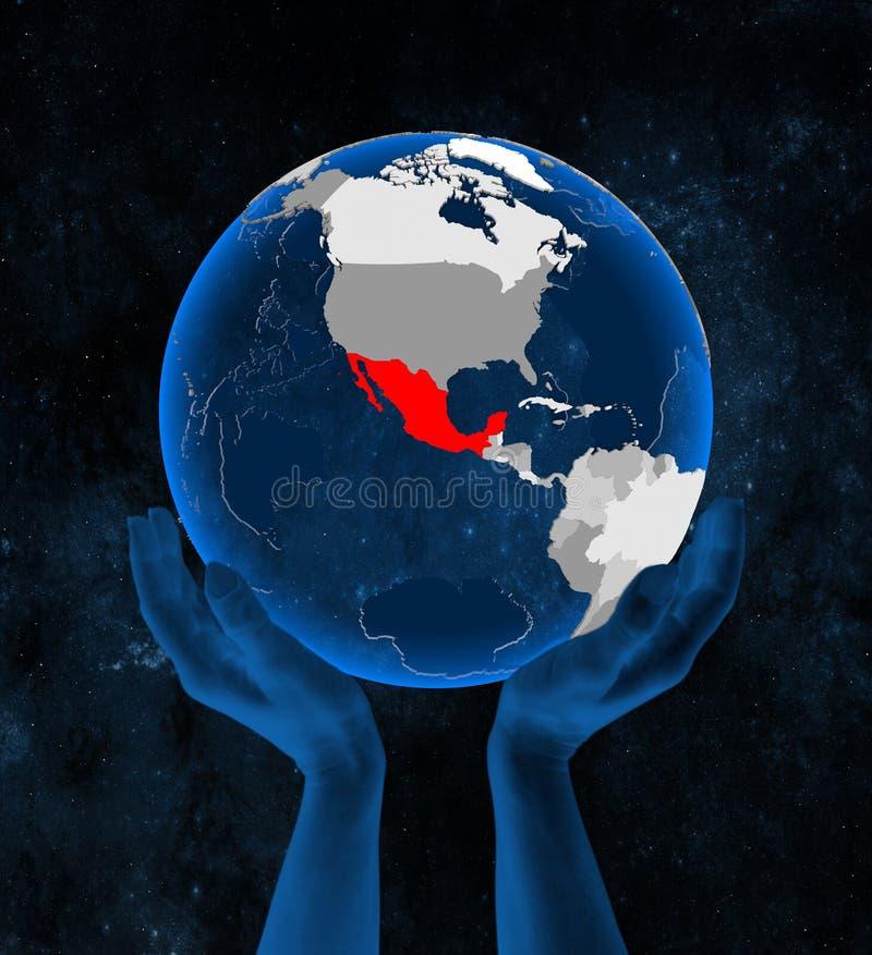Meksyk na kuli ziemskiej w rękach ilustracja wektor