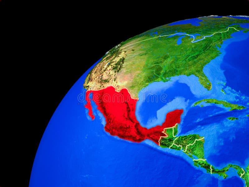Meksyk na ziemi od przestrzeni ilustracja wektor