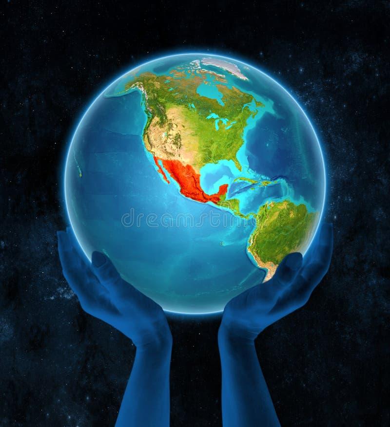 Meksyk na ziemi w rękach ilustracja wektor
