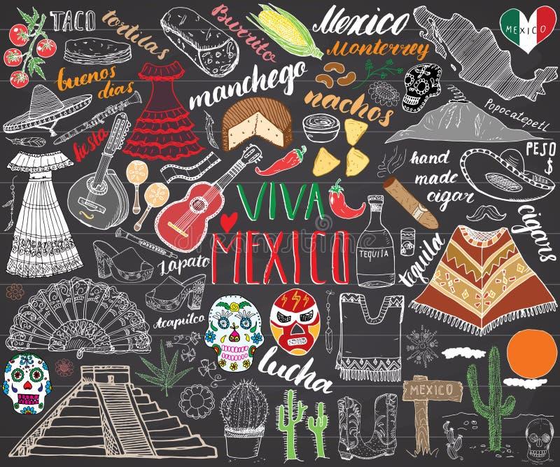 Meksyk nakreślenia ręka rysujący ustalony wektorowy ilustracyjny chalkboard ilustracja wektor