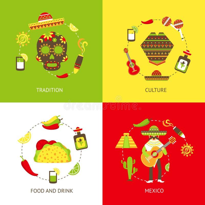 Meksyk płaskie ikony ustawiać ilustracji