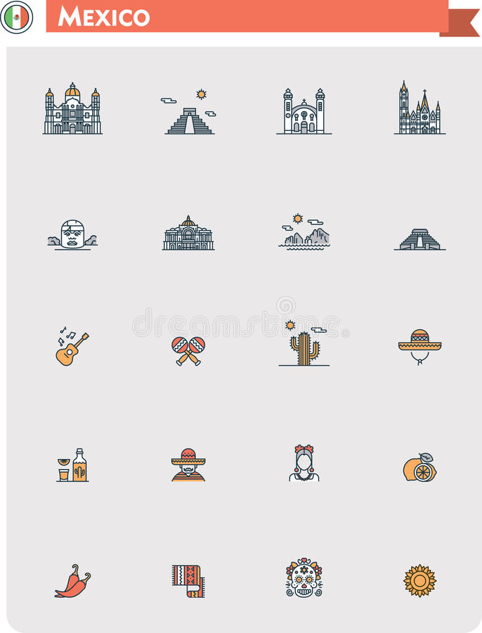 Meksyk podróży ikony set ilustracja wektor