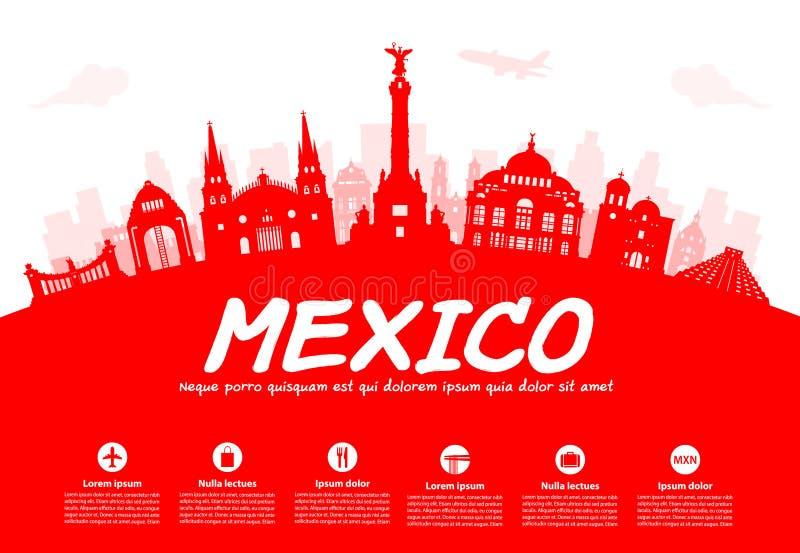 Meksyk podróży punkty zwrotni ilustracji