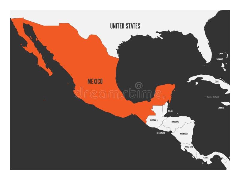 Meksyk pomarańcze zaznaczająca w politycznej mapie Ameryka Środkowa Prosta płaska wektorowa ilustracja ilustracji