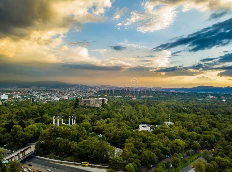 Meksyk - powietrzny panoramiczny widok - zmierzch obrazy stock