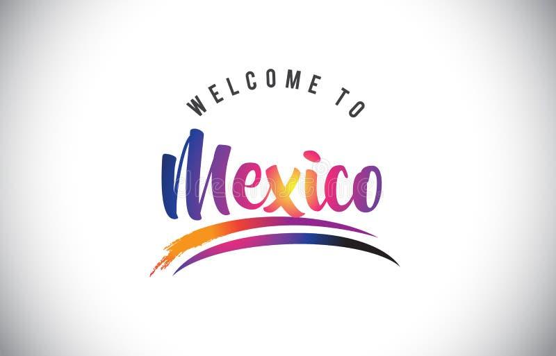 Meksyk powitanie wiadomość w Purpurowych Wibrujących Nowożytnych kolorach royalty ilustracja