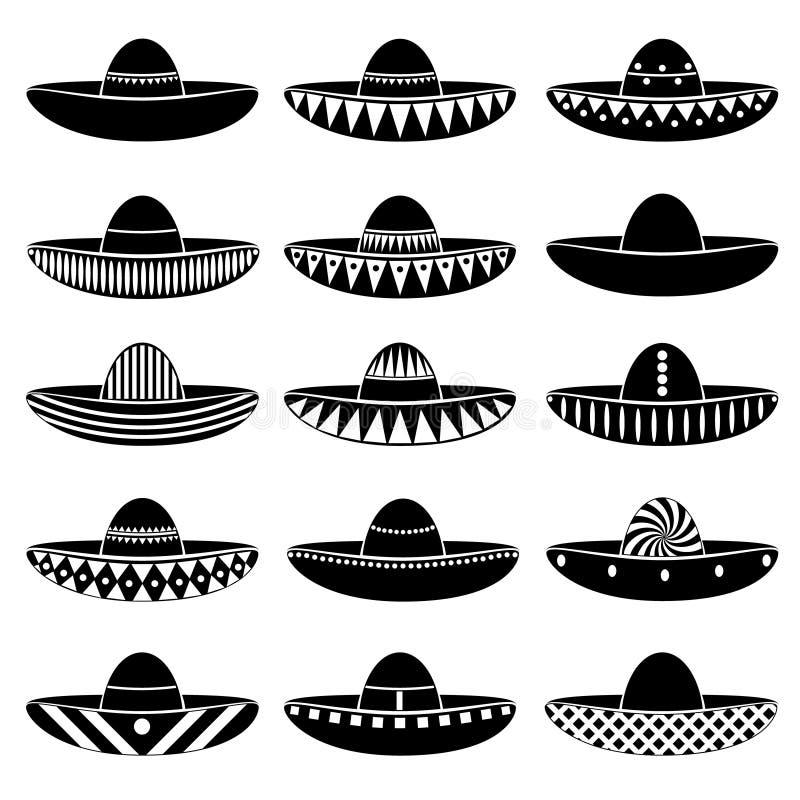 Meksyk sombrero różnic kapeluszowe ikony ustawiać ilustracja wektor