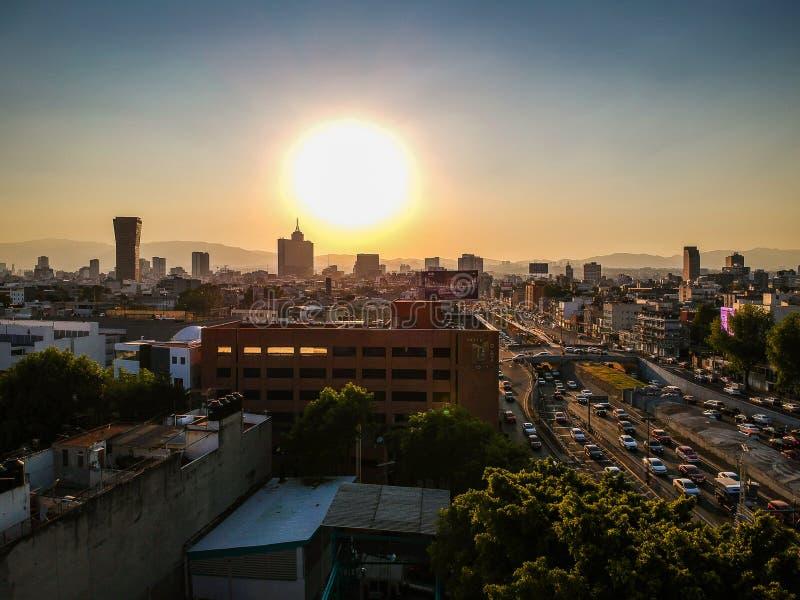 Meksyk Meksyk, Styczeń, - 21, 2019 Powietrzna fotografia Colonia Roma i Narvarte zdjęcia royalty free