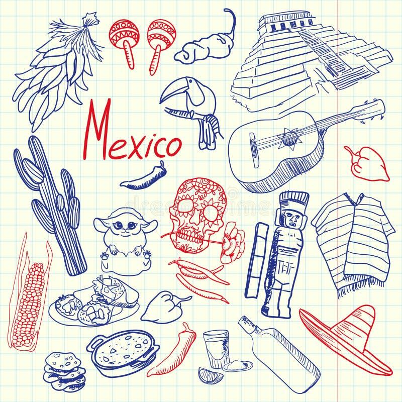 Meksyk symboli/lów pióro Rysujący Doodles Kolorową kolekcję ilustracji