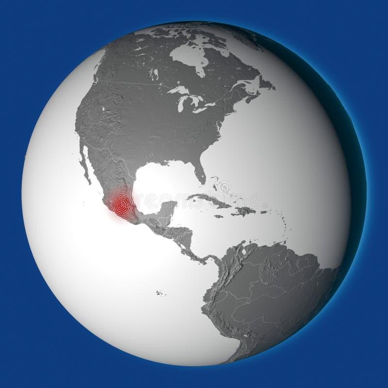 Meksyk, szok, trzęsienie ziemi Meksyk świadczenia 3 d royalty ilustracja