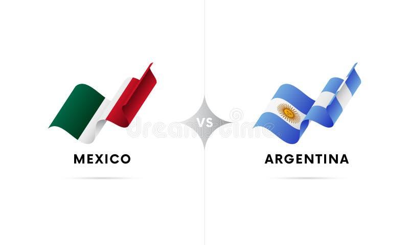 Meksyk versus Argentyna Futbol również zwrócić corel ilustracji wektora ilustracji