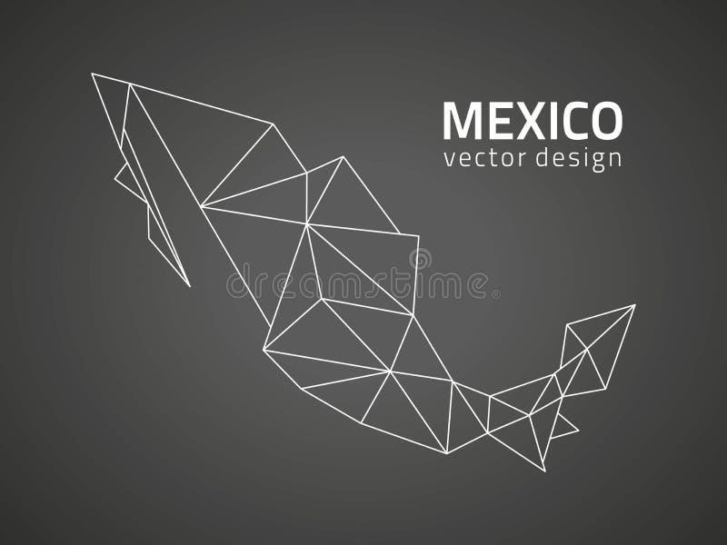 Meksyk wektorowego czarnego trójboka mozaiki konturu perspektywiczna mapa royalty ilustracja