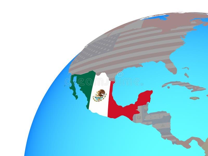 Meksyk z flaga na kuli ziemskiej ilustracji