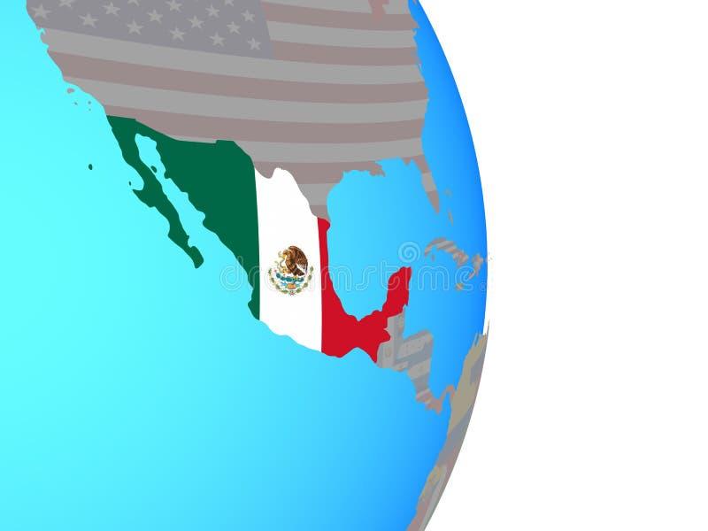 Meksyk z flaga na kuli ziemskiej ilustracja wektor