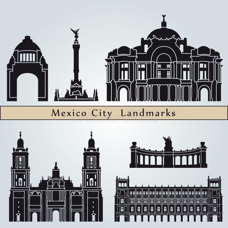 Meksyk zabytki i punkty zwrotni royalty ilustracja