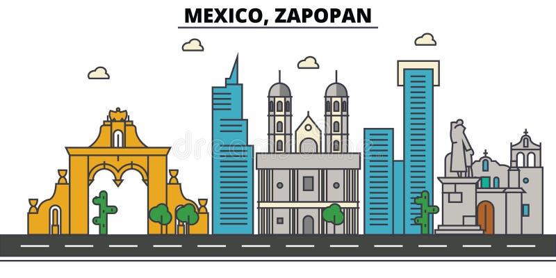 Meksyk, Zapopan Miasto linia horyzontu, architektura, budynki, ulicy, sylwetka, krajobraz, panorama, punkty zwrotni, ikony royalty ilustracja