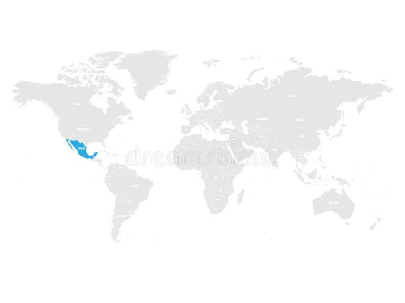 Meksyk zaznaczał błękitem w popielatej Światowej politycznej mapie również zwrócić corel ilustracji wektora ilustracji