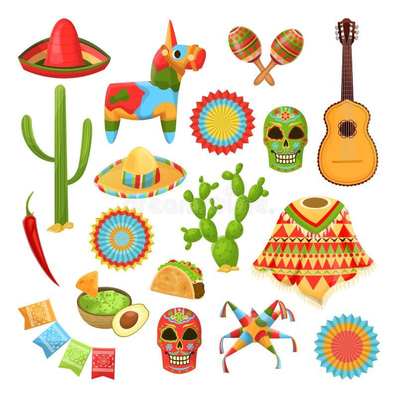 Meksykańscy krajowi symbole Wektorowi projektów elementy dla Cinco de Mayo wakacje Fiesta, świętowanie, partyjne ikony royalty ilustracja