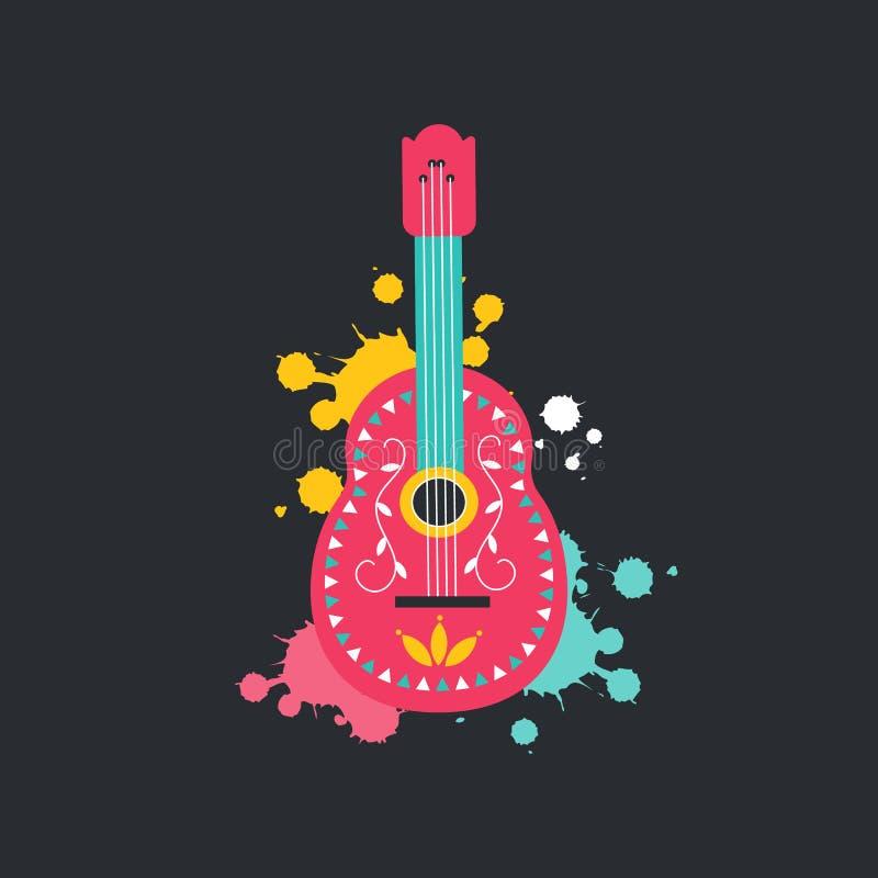 Meksykański gitary ikony mieszkania styl odizolowywający na ciemnym tle Hiszpański kultura instrument muzyczny z ręka rysującym m ilustracji