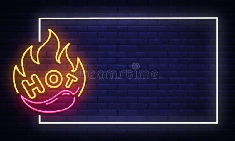 Meksykański Karmowy neonowego znaka projekta wektorowy szablon Meksykańska Karmowa neonowa rama, lekkiego sztandaru projekta elem royalty ilustracja