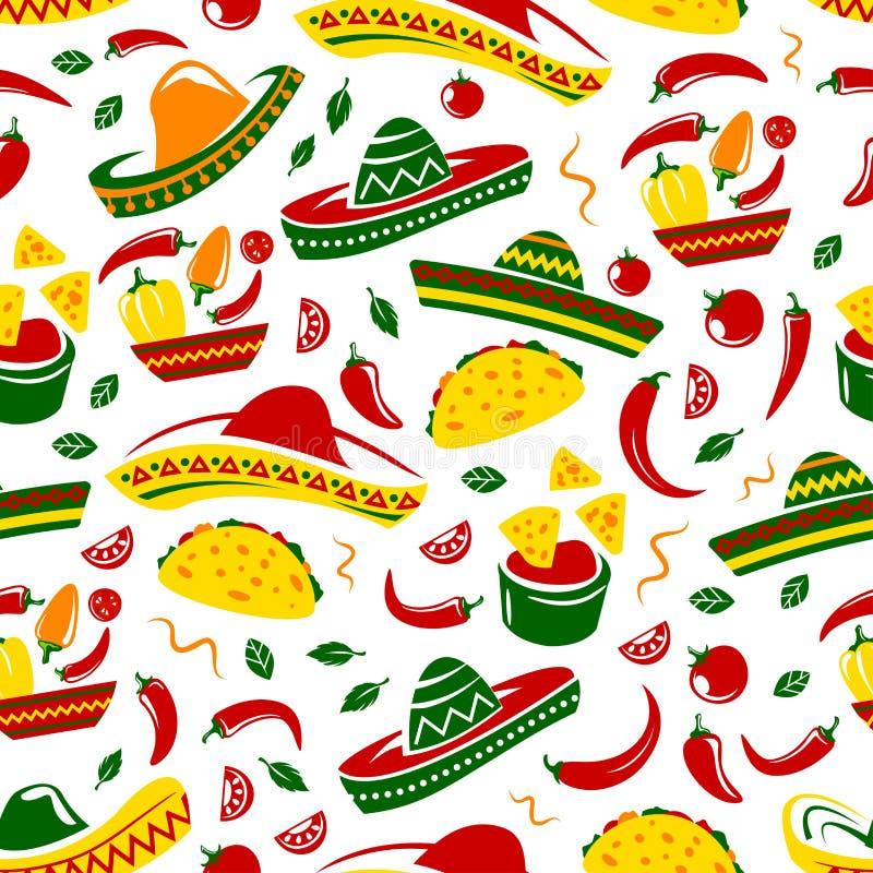 Meksykański kuchnia sombrero i jedzenia bezszwowy wzór royalty ilustracja
