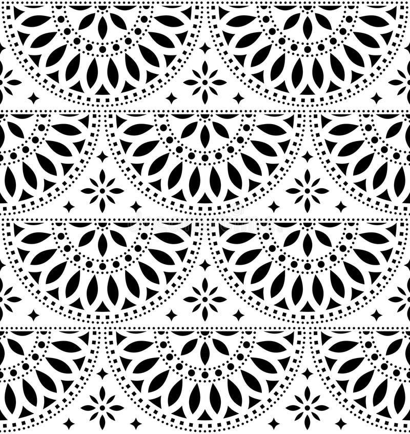 Meksykański ludowej sztuki wektorowy bezszwowy geometryczny wzór z kwiatami, czarny i biały fiesta projekt inspirujący tradycyjną royalty ilustracja