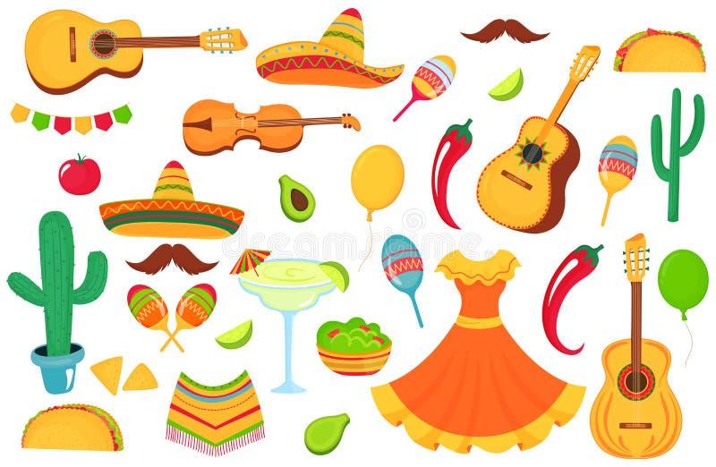 Meksykańscy instrumenty muzyczni, lokalny jedzenie, odziewa Duży set dekoracyjni elementy dla projekta plakat, sztandar, ulotka, ilustracja wektor