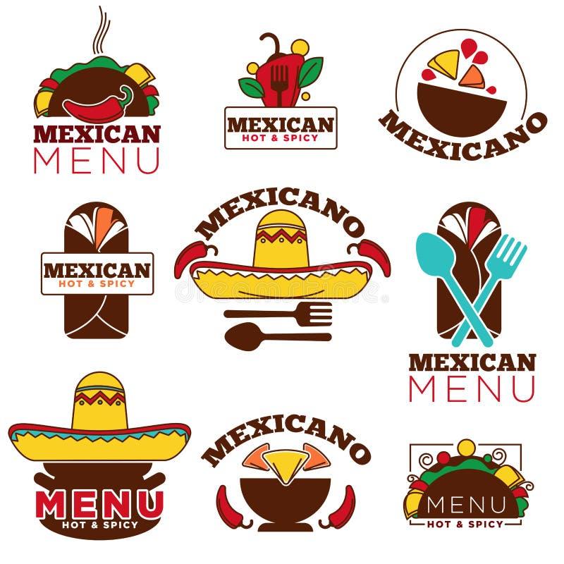 Meksykańscy karmowi kuchni lub restauracja menu ikony wektorowi szablony ustawiający ilustracja wektor