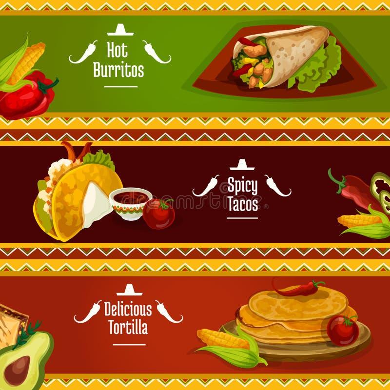Meksykańscy kuchni taco, burrito i tortilla sztandary, ilustracji
