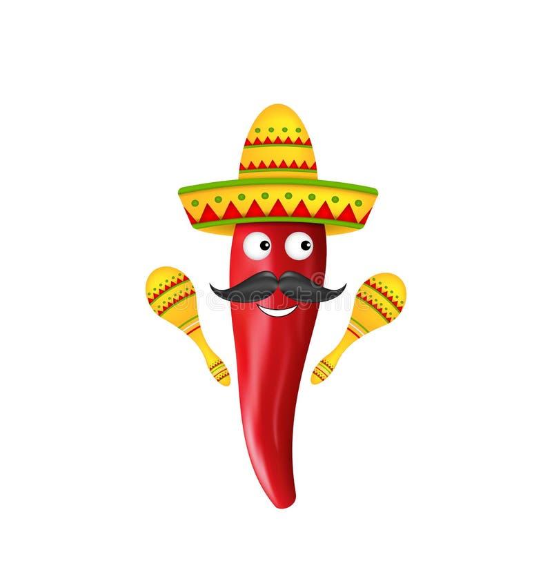Meksykańscy symbole, Czerwonego Chili pieprz, sombrero kapelusz, Muzykalni marakasy, wąsy ilustracji