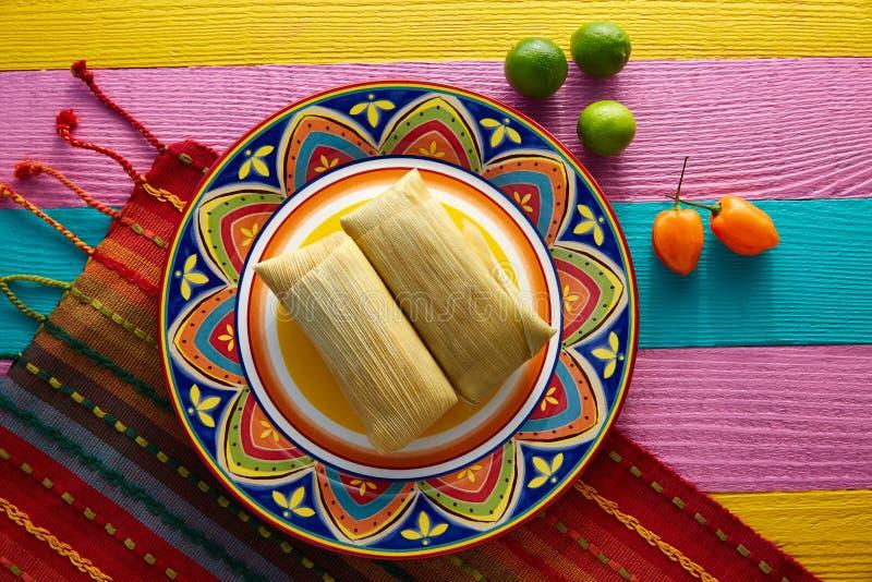Meksykańscy Tamale tamales kukurydzani liście obraz stock