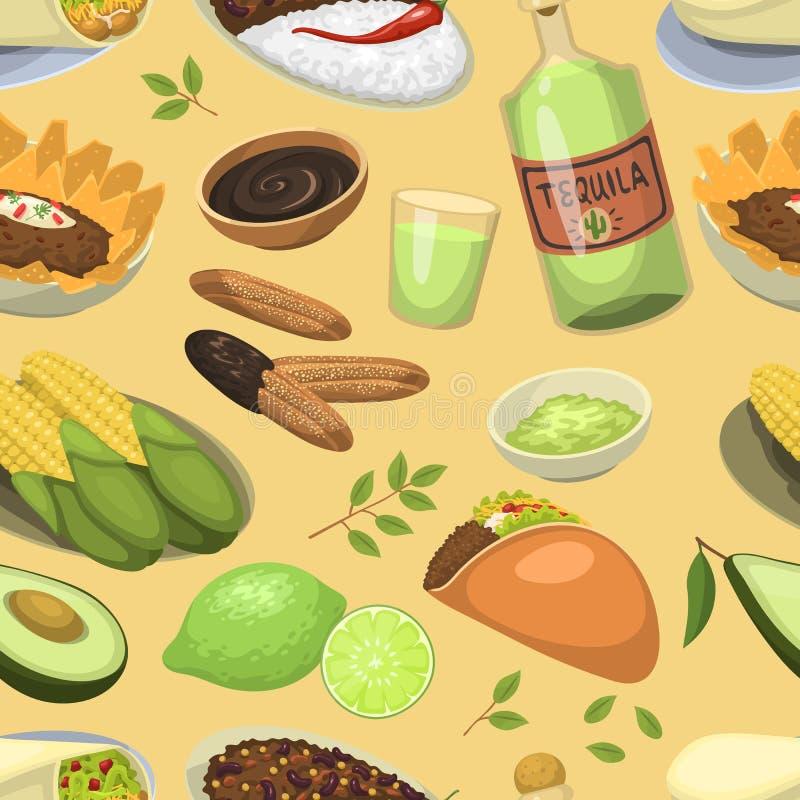 Meksykańscy tradycyjni karmowi posiłków talerze jedzą lunch kumberlandu Mexico kuchni wektorowego ilustracyjnego bezszwowego dese ilustracja wektor
